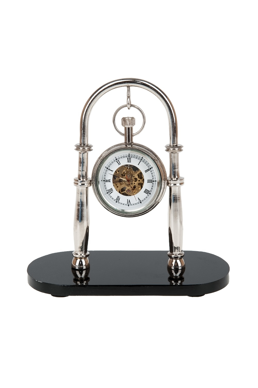 Часы настольные ДипломатИнтерьер<br>Часы настольные, механические (часы-d=5см.) 14*7*14см. (металл-никель, алюминий, стекло, подставка-бакелит)<br>