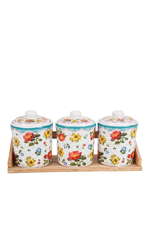 Набор банок для сыпучих продуктов Цветочная поэмаПосуда<br>Банки для сыпучих продуктов, набор 3шт., d=10см. h=14см. v=600см. (33,5*11*15,5см.) на деревянной подставке. Материал: Керамика<br>