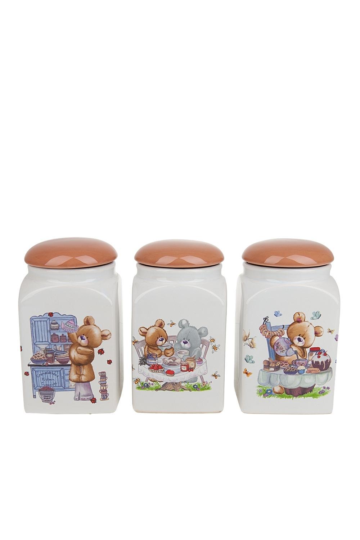 Набор банок для сыпучих продуктов BernyПосуда<br>Банка для сыпучих продуктов, набор 3шт., 9*9*16см. v=700мл. Материал: Керамика<br>