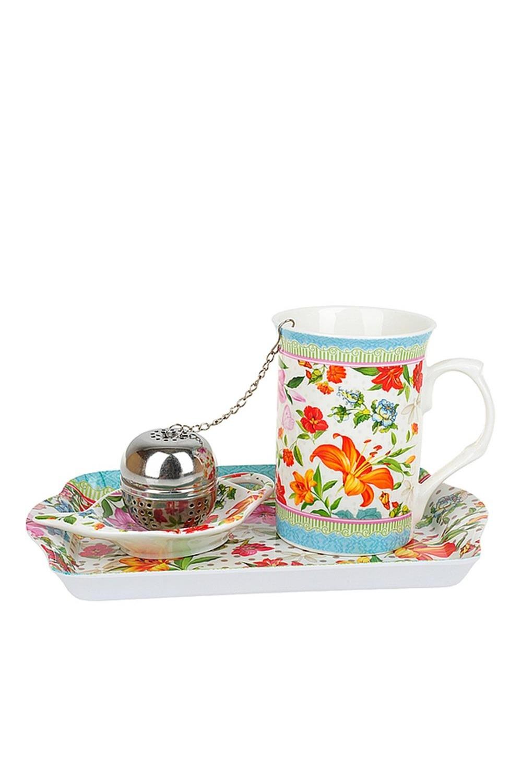 Кружка фарфоровая с ситечком для заварки Восточная лилияПосуда<br>Кружка фарфоровая с ситечком для заварки, с подставкой под чайный пакетик + поднос, v=256мл. Материал: Костяной фарфор<br>
