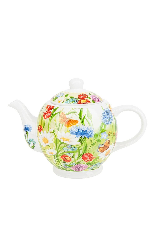 Чайник Цветочная полянаПосуда<br>Чайник, 22,5*13*16см. v=1120мл. Материал: Костяной фарфор<br>