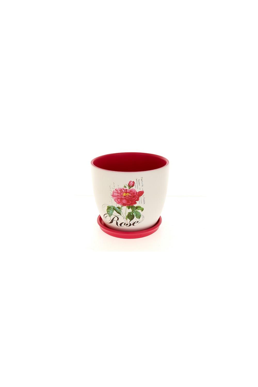 Набор цветочных горшков с поддонами RoseИнтерьер<br>Горшки для цветов с поддонами, набор 3шт., d=17/14/11см. h=14,5/11,5/9см. v=2000/1100/500мл. Материал: Керамика<br>