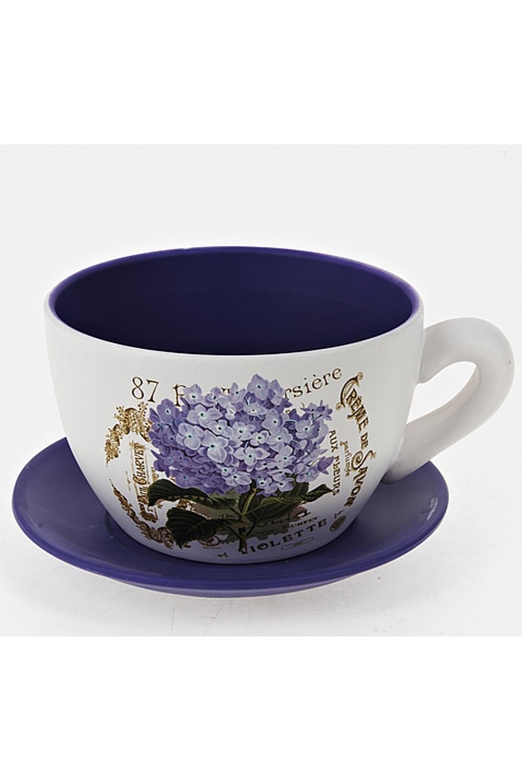 Горшок для цветов с поддоном Лиловая гортензияИнтерьер<br>Горшок для цветов с поддоном, d=19,5см. h=12,5см. v=2100мл. Материал: Керамика<br>