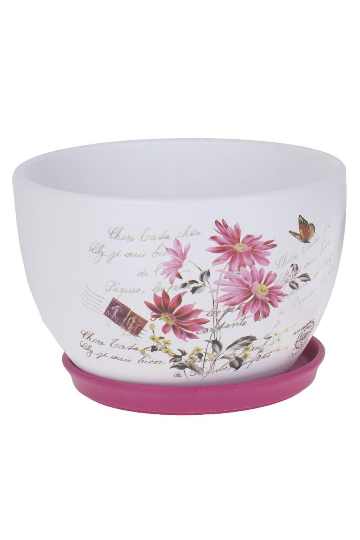 Горшок для цветов с поддоном КосмеяИнтерьер<br>D=23см. h=15см. v=3900 Состав: Керамика<br>
