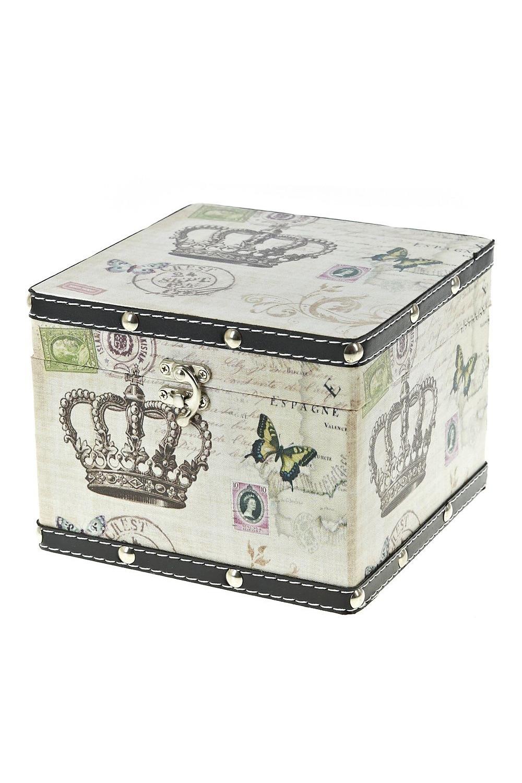 Шкатулка декоративная КоролевскаяШкатулки и наборы по уходу<br>22*22,5*16см. Состав: мдф основа, канва<br>