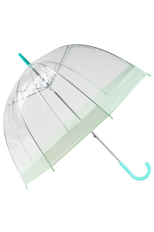 Зонт прозрачный КуполПодарки<br>Зонт не только позволяет любоваться красотой плачущей природы, но и бережно защищает плечи и голову своей обладательницы, благодаря увеличенной глубине купола. Лёгкий зонт-трость удобно дарить и приятно получать. Материал: ПВХ, металл Упаковка: полиэтиленовый пакет  Длина дуги 56см,диаметр 87см.<br>