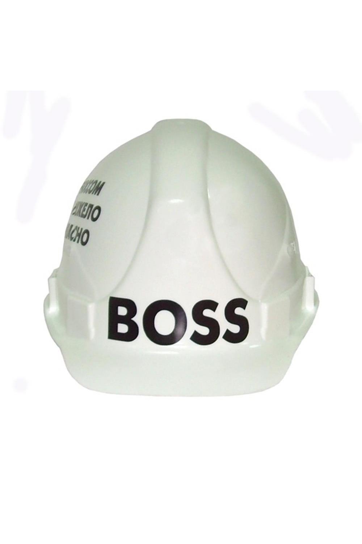 Каска строительная BossРазвлечения и вечеринки<br>Оригинальная каска. С фронтальной стороны надпись: БОСС. Внутри пластиковый пружинящий каркас  23 х 27 х 16 см.<br>