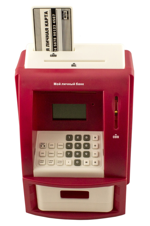 Копилка БанкоматСувениры и упаковка<br>Забавная электронная игрушка - копилка выполнена в виде банкомата. Распознаёт номинал Российских монет. Размер копилки-банкомата: 21х14х14 см. Внимание! Если батарейки начинают садиться то банкомат работает, но не отщёлкивается электро-магнитный замок (при попытке снятия наличных). В этом случае замените батарейки.<br>