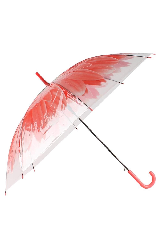 Зонт купол Цветок красный зонты bradex зонт трость прозрачный купол