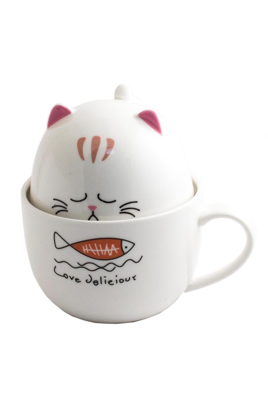 Кружка КотикПосуда<br>Набор из двух чашек - побольше и поменьше размером, - в собранном виде изображает фигурку толстого котика. На животе кота рисунок и надпись, сообщающая, что всякий котик любит полакомиться вкусненьким. Материал: керамика. Размеры: 12 х 12 х 11 см.<br>