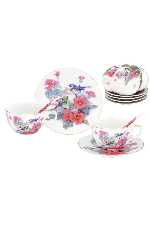 Чайный набор Синички в цветах чайный набор маки 12 предметов блюдце 15 15 2 5 см 6 шт чашка на ножке 12 5 10 7 см 250 мл 6 шт в п у 1236245