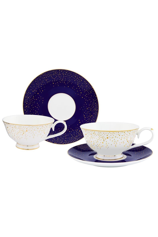 Чайная пара День и ночьПосуда<br>4 предмета, чашка на ножке 13*10,5*6 см. 220 мл. - 2 шт., блюдце 15*15*1,5 см. - 2 шт. Фарфор<br>