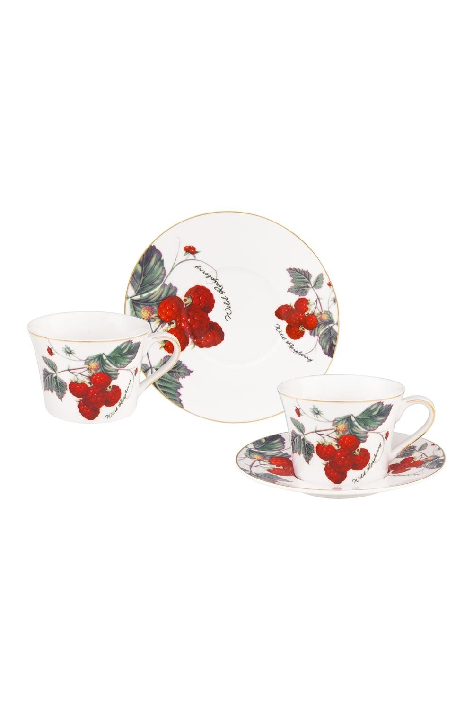 Чайная пара Ягода - малинаПосуда<br>4 предмета, блюдце - 15,5*15,5*2 см. - 2 шт., чашка - 11,5*9*6,5 см. 210 мл. - 2 шт. Фарфор<br>