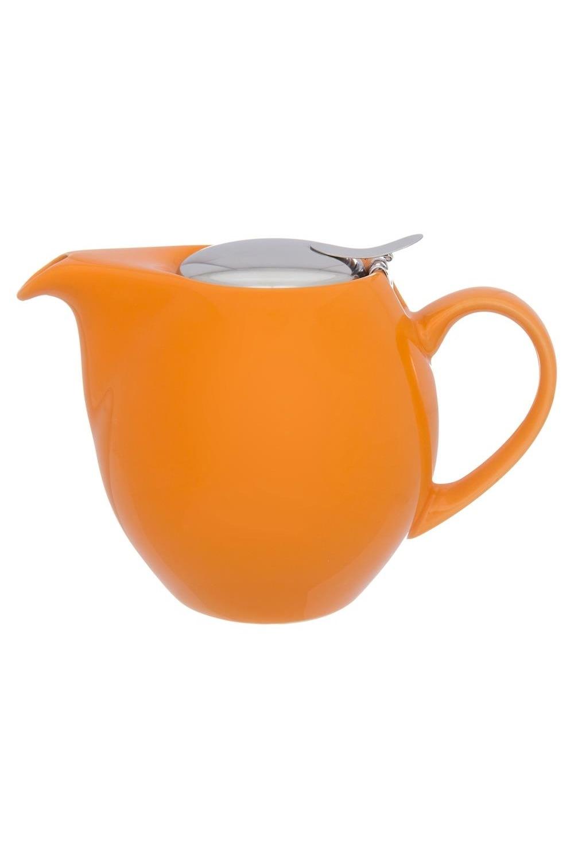 Чайник ОранжевыйПосуда<br>18,5*11,5*13 см. 900 мл. с металлической крышкой и ситом. Керамика<br>