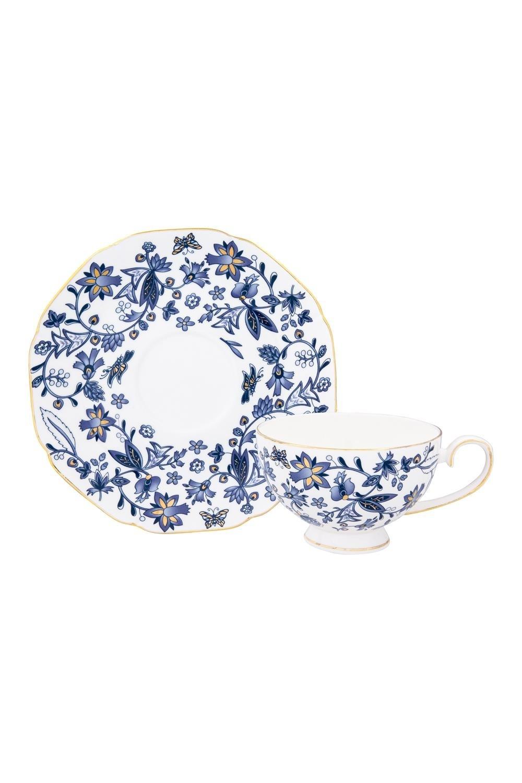 Чайная пара ИзысканностьПосуда<br>2 предмета, чашка - 250 мл. 12,5*10*6,5 см., блюдце - 16,3*16,3*2 см. Фарфор<br>