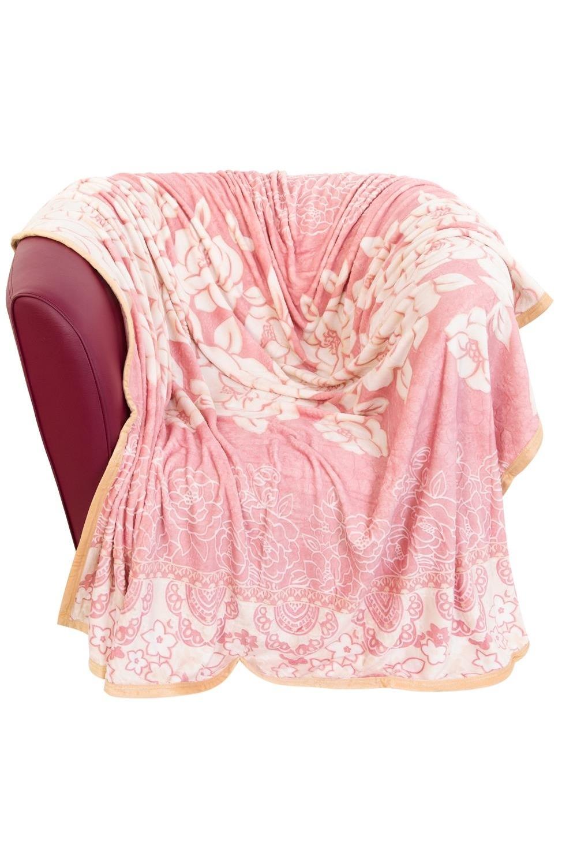 Плед Белые розыИнтерьер<br>На розовом, 150*200 см., состав - полиэстер, плотность - 320 г/м2<br>