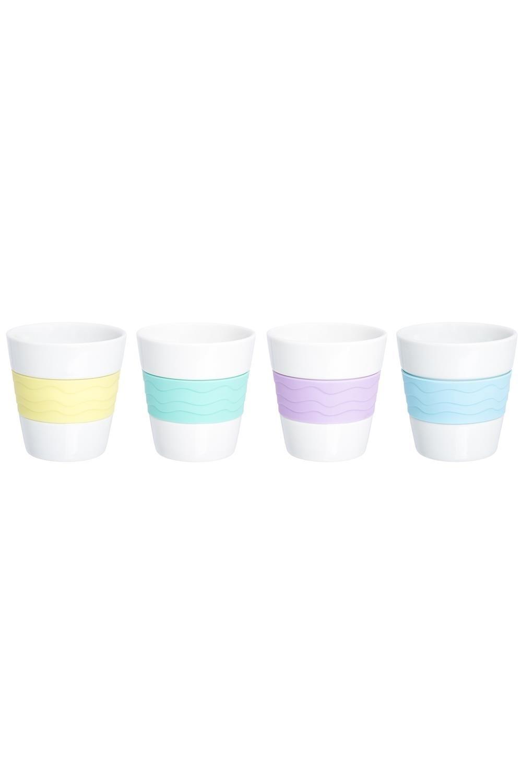 Набор 4 стаканов РадугаПосуда<br>Набор 4 стаканов Радуга мятный, сиреневый, небесный, лимонный, стакан - 4 шт. 7,5*7,5*7,8 см. 160 мл. - каждый, с силиконовой вставкой, 18*15,5*7,8 см. - в наборе, в PCV box с ручкой. Состав: Фарфор/силикон<br>