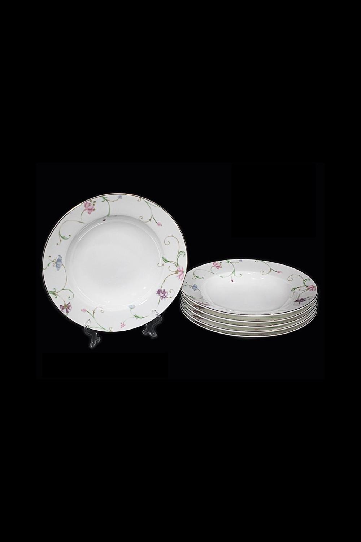 Набор глубоких тарелок НовеллоПосуда<br>Набор 6 глубоких тарелок, Д=22,5см, костяной фарфор.<br>