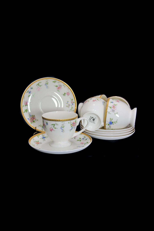 Чайный набор НомальоПосуда<br>Чайный набор 12 предметов (6 шт- чашка 200мл, 6 шт- блюдце Д=15.5см), костяной фарфор.<br>