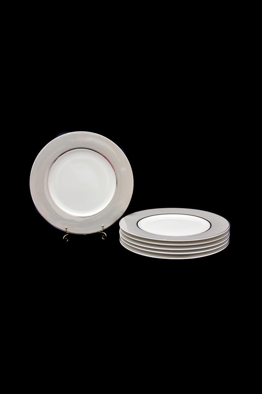 Набор тарелок ПавонеПосуда<br>Набор из 6 тарелок, Д=21,5см, костяной фарфор.<br>