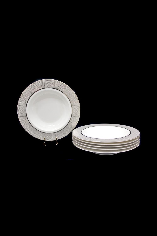 Набор глубоких тарелок ПавонеПосуда<br>Набор из 6 глубоких тарелок, Д=23см, костяной фарфор.<br>