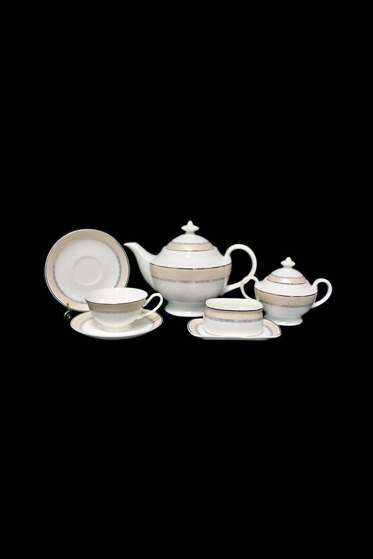 Чайный сервиз ПеттораноПосуда<br>Чайный сервиз 18 предметов (6 шт- блюдце, 6 шт- чашки, заварник 1200мл +крышка, сахарница + крышка, подставка под чайные пакетики, блюдце под лимон), костяной фарфор.<br>