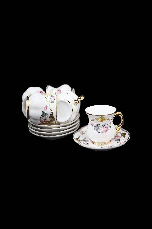 Кофейный набор БонассолаПосуда<br>12 предметов (чашки 80мл, блюдца), фарфор.<br>