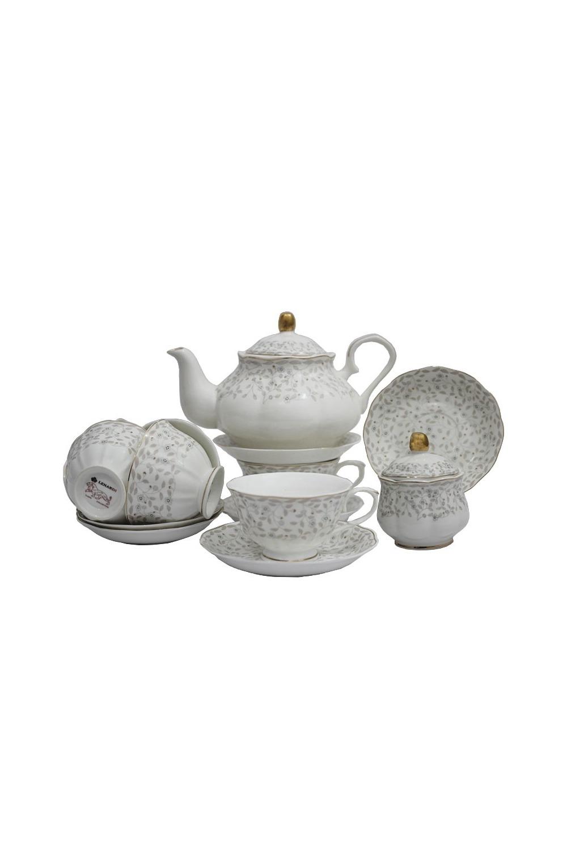 Чайный сервиз АнатолияПосуда<br>Чайный сервиз 16 предметов (6шт - чашка 250 мл, 6шт - блюдце 15 см, чайник 1000мл +крышка, сахарница +крышка), фарфор.<br>