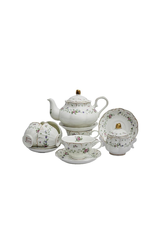 Чайный сервиз МаринеллаПосуда<br>Чайный сервиз 16 предметов (6шт-  чашка 250 мл, 6шт - блюдце 15 см, чайник 1000мл +крышка, сахарница +крышка), фарфор.<br>