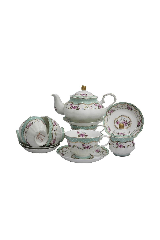 Чайный сервиз ГаджиПосуда<br>Чайный сервиз 16 предметов (6шт - чашка 250 мл, 6шт - блюдце 15 см, чайник 1000мл +крышка, сахарница +крышка), фарфор.<br>