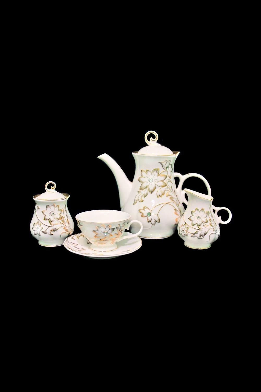 Чайный сервиз ГальяноПосуда<br>Чайный сервиз 17 предметов (6шт - блюдце, 6шт - чашки, заварник 1200мл +крышка, сахарница +крышка, молочник), фарфор.<br>