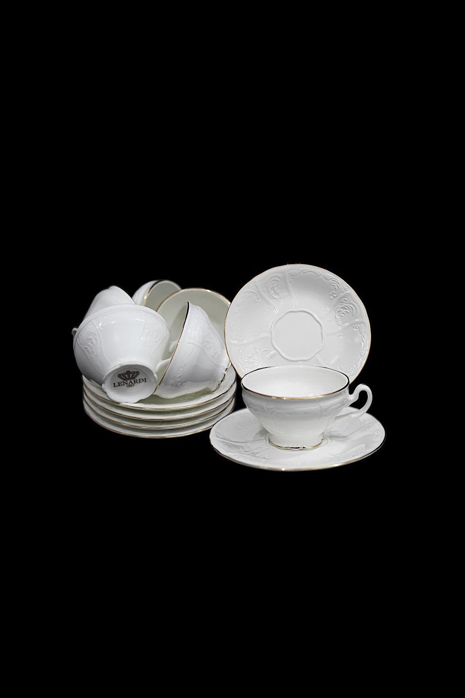 Кофейный набор ЭлизабеттаПосуда<br>Кофейный набор в подарочной упаковке, 12 предметов (6шт - чашка 100 мл, 6шт - блюдце 13 см), фарфор.<br>