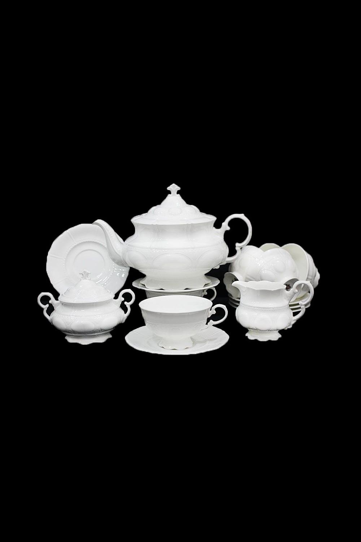 Чайный сервиз СеверинаПосуда<br>17 предметов (6шт - блюдце, 6шт - чашки, заварник 1400мл +крышка, сахарница +крышка, молочник), фарфор.<br>