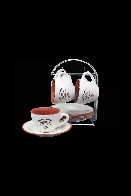 Чайный набор СантерамоПосуда<br>9 предметов (4шт - чашки 250мл, 4шт - блюдца, подставка), керамика.<br>