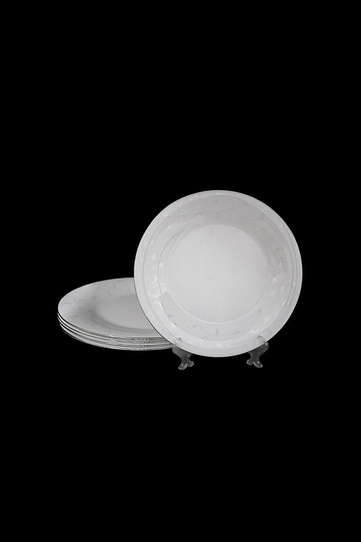 Набор тарелок СельвиноПосуда<br>Набор из 6 тарелок, Д=25.5см, опаловое стекло.<br>