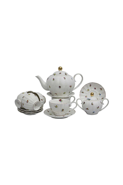 Чайный сервиз ДоменикаПосуда<br>Чайный сервиз 16 предметов (6шт - чашка 250 мл., 6шт - блюдце 13,5 см, чайник 1000мл +крышка, сахарница +крышка), фарфор.<br>