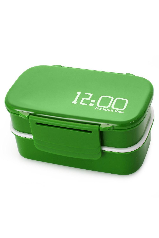 Ланч бокс 12 oclockДача и Путешествия<br>Его можно взять с собой на работу, учебу или на пикник, не занимая при этом много места в рюкзаке. Комплект включает 2 контейнера с отсеками, верхнюю крышку с удобными защелками, вилку с ложкой. Все составляющие изготовлены из нетоксичного пищевого пластика, который допускает хранение в холодильнике. Общий объем 1410 мл и 5 отделений позволяет поместить в ланчбокс полноценный обед, содержащий первое, второе, салат, фрукты. Ланчбокс 12 oclock – подходящий вариант подарка для тех, кто предпочитает фаст-фуду вкусную и здоровую пищу домашнего приготовления. Размер: 20 х 10 х 13. Материал: Пищевой пластик<br>