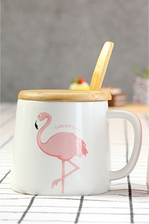Кружка Фламинго с крышкой кружк с крышкой и ложкой заяц