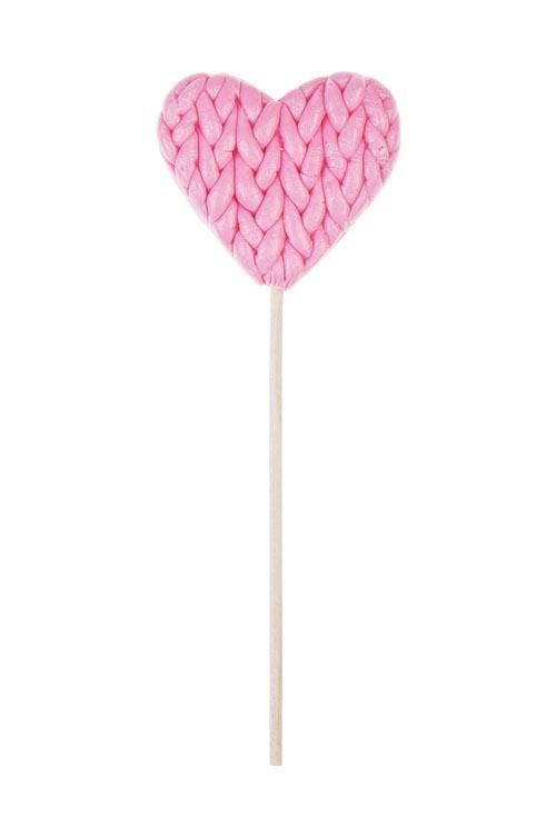 Леденец Лапочка - Теплое сердцеНовогодние сладости<br>35г, розовый без декора, на палочке<br>