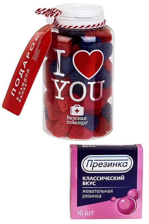 Конфеты Вкусная помощь с жевательной резинкой Я тебя люблю конфеты вкусная помощь для храбрости 250 мл