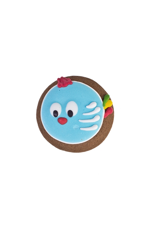 Сувенир пряник Птичка-петушокСувениры и упаковка<br>Д=8см, голубой<br>