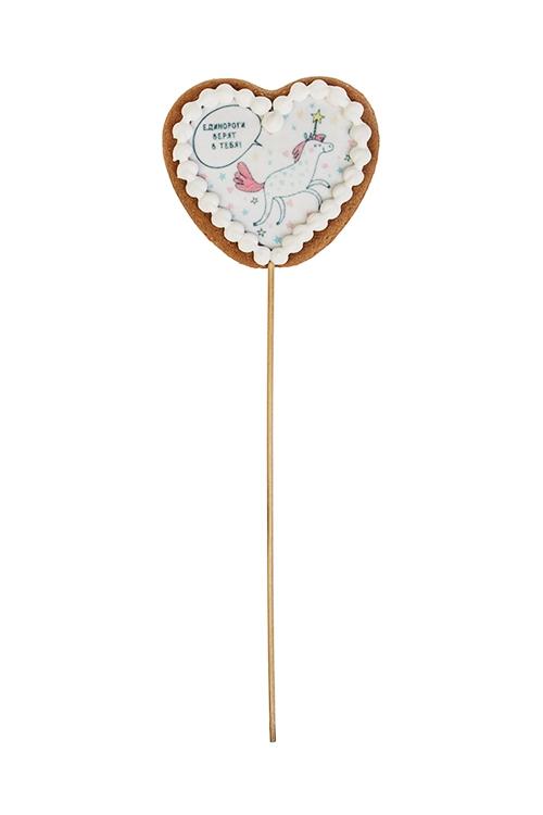 Сувенир пряник Сердце - ЕдинорогСувениры и упаковка<br>8*7см, фотопечать, на палочке<br>