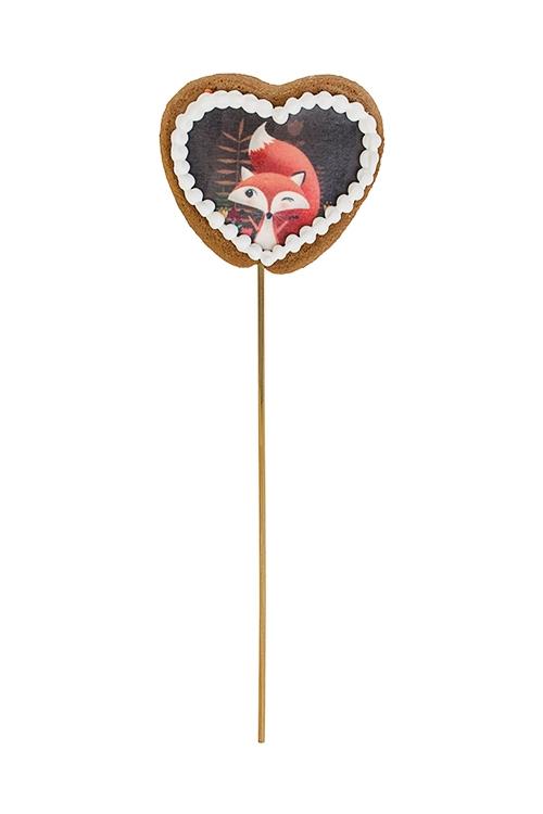 Сувенир пряник Сердце - ЛисичкаСувениры и упаковка<br>8*7см, фотопечать, на палочке<br>