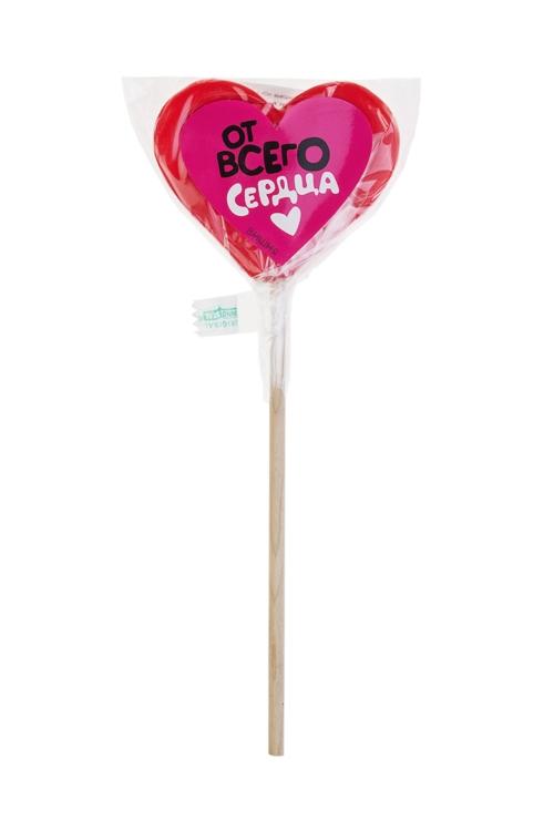 Леденец на палочке От всего сердцаПодарки для женщин<br>Леденец, 60г, с наклейкой, в форме сердца, на палочке<br>