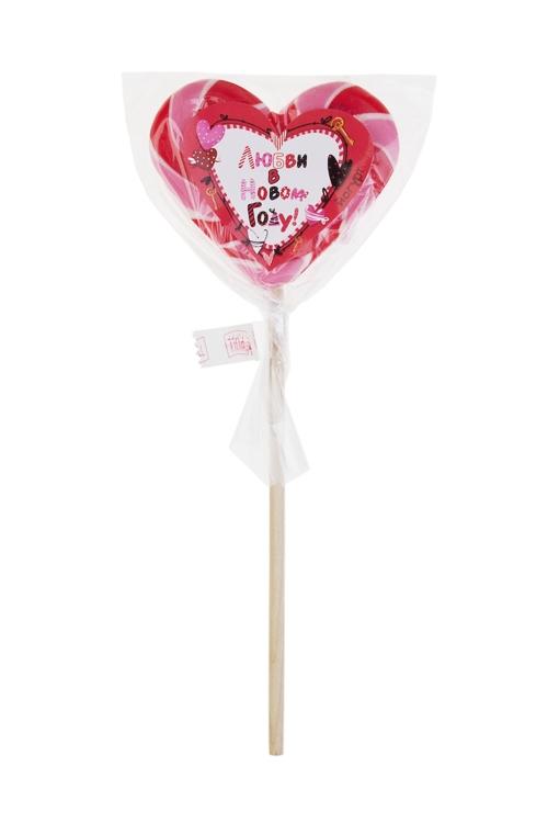 Леденец на палочке Любви в Новом Году!Сувениры и упаковка<br>Леденец, 60г, с наклейкой, в форме сердца, на палочке<br>