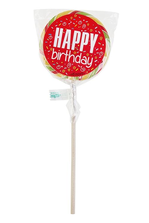 Леденец на палочке С днем рождения!Леденцы<br>Леденец, 85г, с наклейкой, на палочке<br>