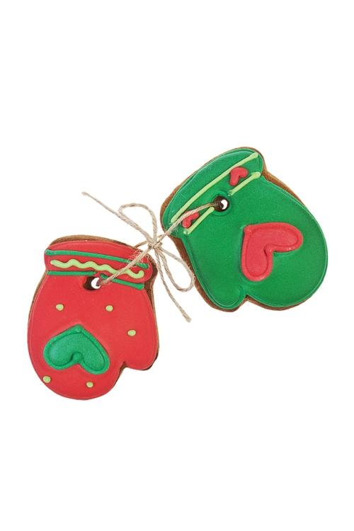 Набор пряников праздничных имбирных Рукавички 2Сувениры и упаковка<br>6*8см, красно-зеленые<br>