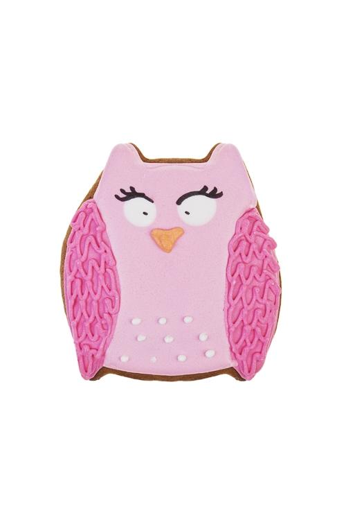 Пряник праздничный имбирный СоваНовогодние сладости<br>Выс=10см, розовый<br>
