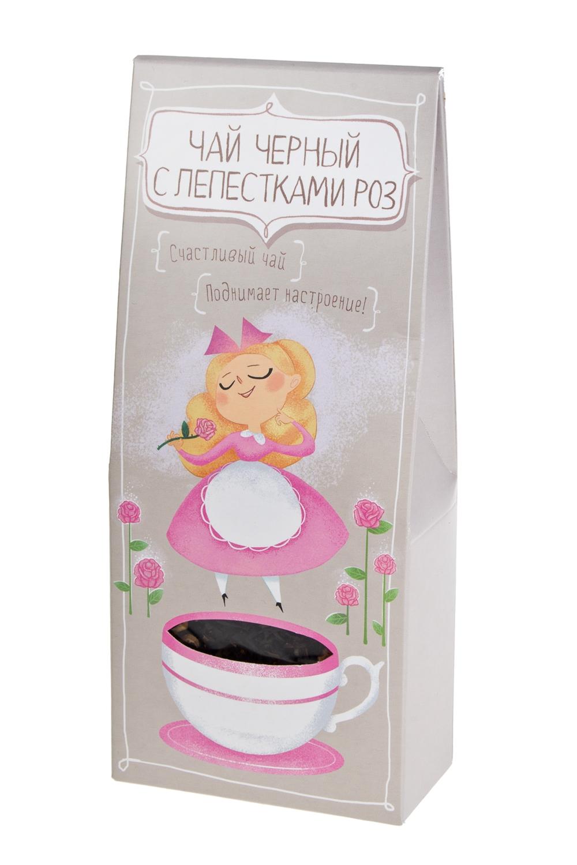 Чай Счастливый чайСувениры и упаковка<br>Чай черный с лепестками роз, 50г<br>