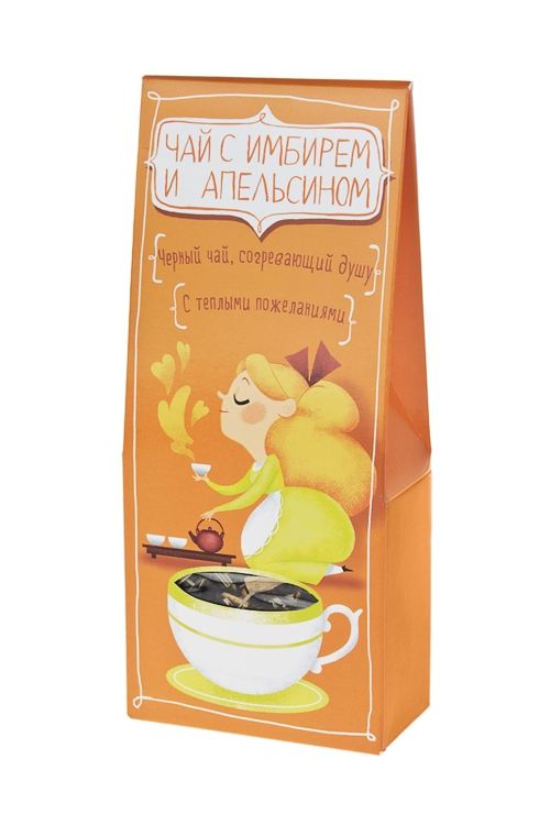 Чай Теплые пожеланияПодарки для женщин<br>Чай черный с имбирем и апельсином, 50г<br>